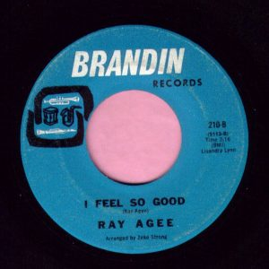 "Ray Agee "" I Feel So Good "" Brandin Records Vg"