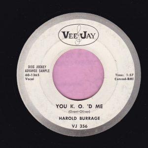 """Harold Burrage """" You K.O.'D Me """" Vee Jay Demo Vg+"""