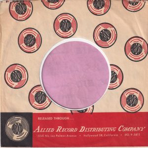ARDCO ( Allied Record Distribution Company ) U.S.A. Company Sleeve 1959 – 1962 ARDCO was a Hollywood based distribution company . Many of the labels had a small ribbon on the side of the label incl. Swingin', Crest, Stacy etc.