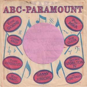 ABC Paramount Various Artists U.S.A. Company Sleeve 1959 – 1960