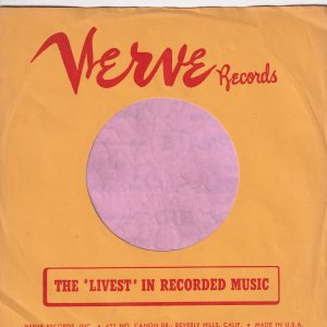 Verve Records U.S.A. Red Print On Yellow Paper With Address Details Company Sleeve 1956 – 1960
