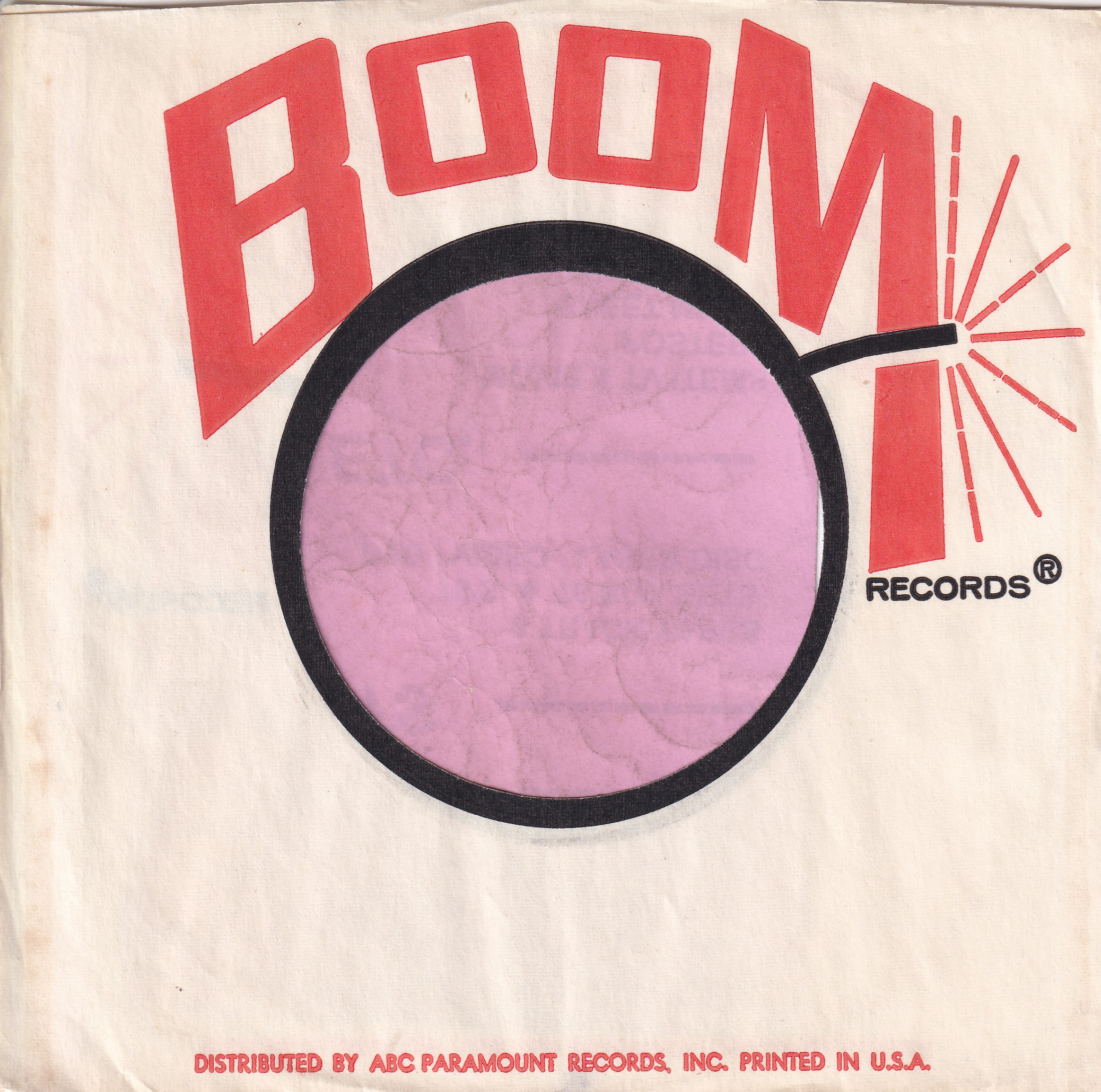 Boom Records U.S.A. Company Sleeve 1966