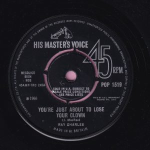 "Ray Charles "" You're Just About To Lose Your Clown "" HMV His Masters Voice Vg+"