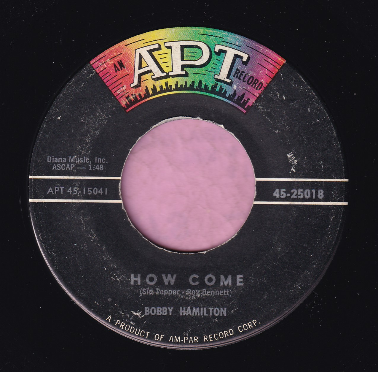 "Bobby Hamilton "" How Come "" Apt Records Vg+"