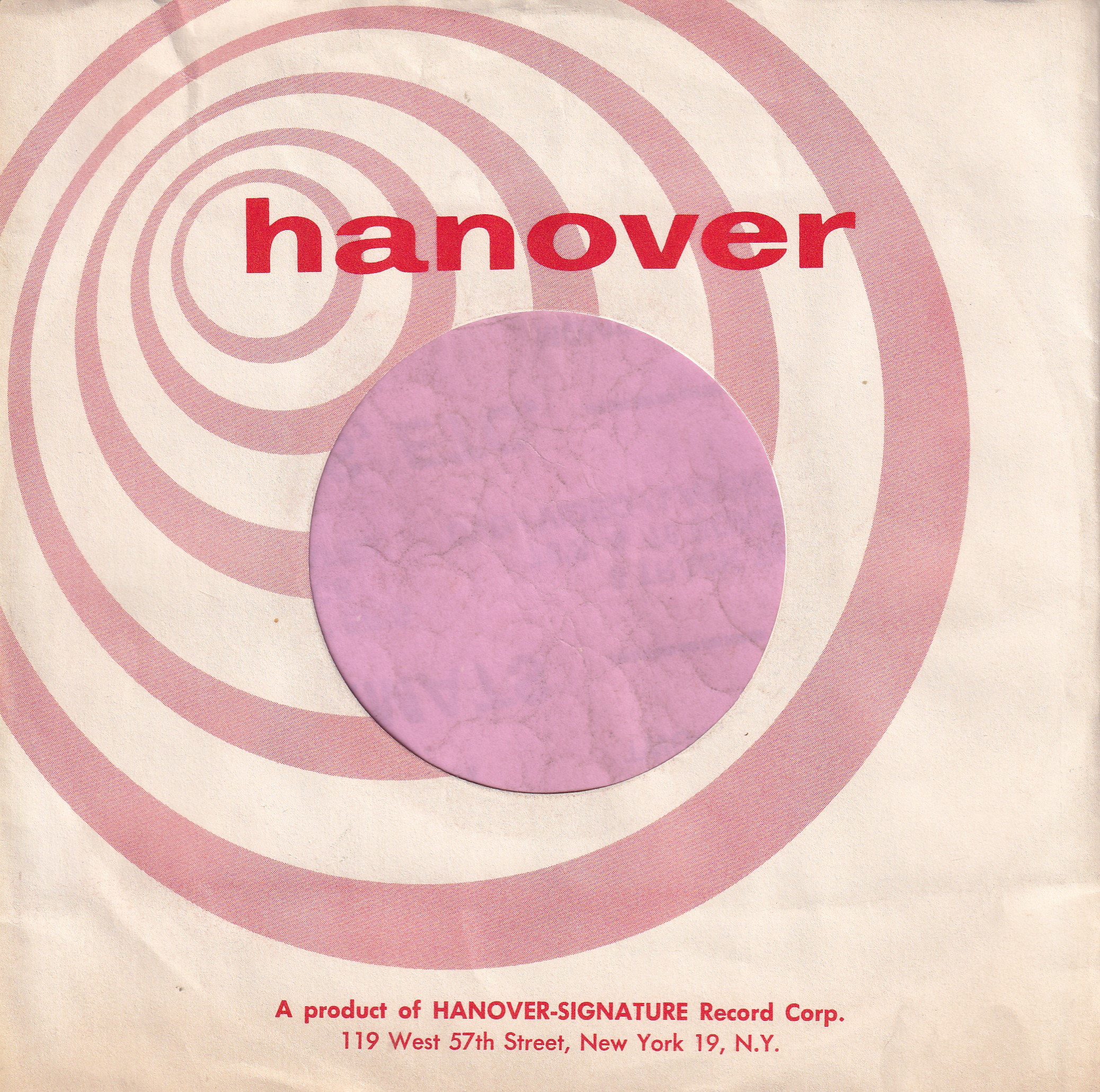 Hanover U.S.A. Design Printed On One Side Only Company Sleeve 1960 – 1961