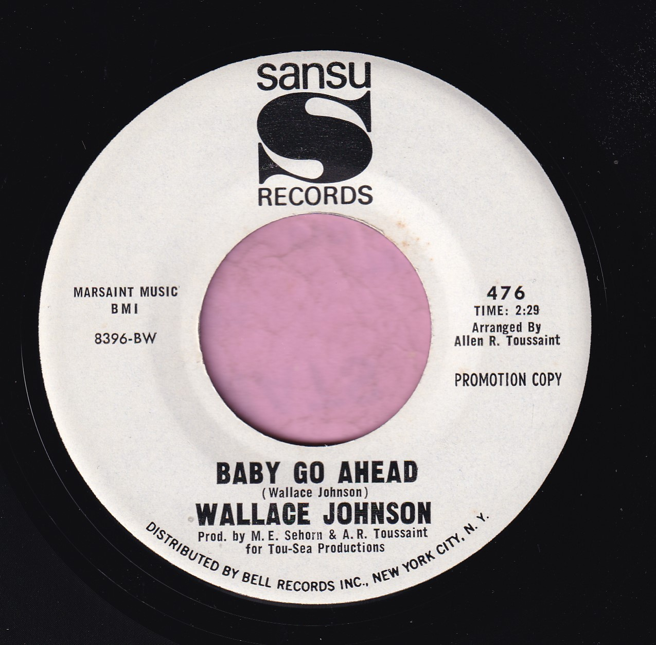 "Wallace Johnson "" Baby Go Ahead "" Sansu Records Demo Vg+"