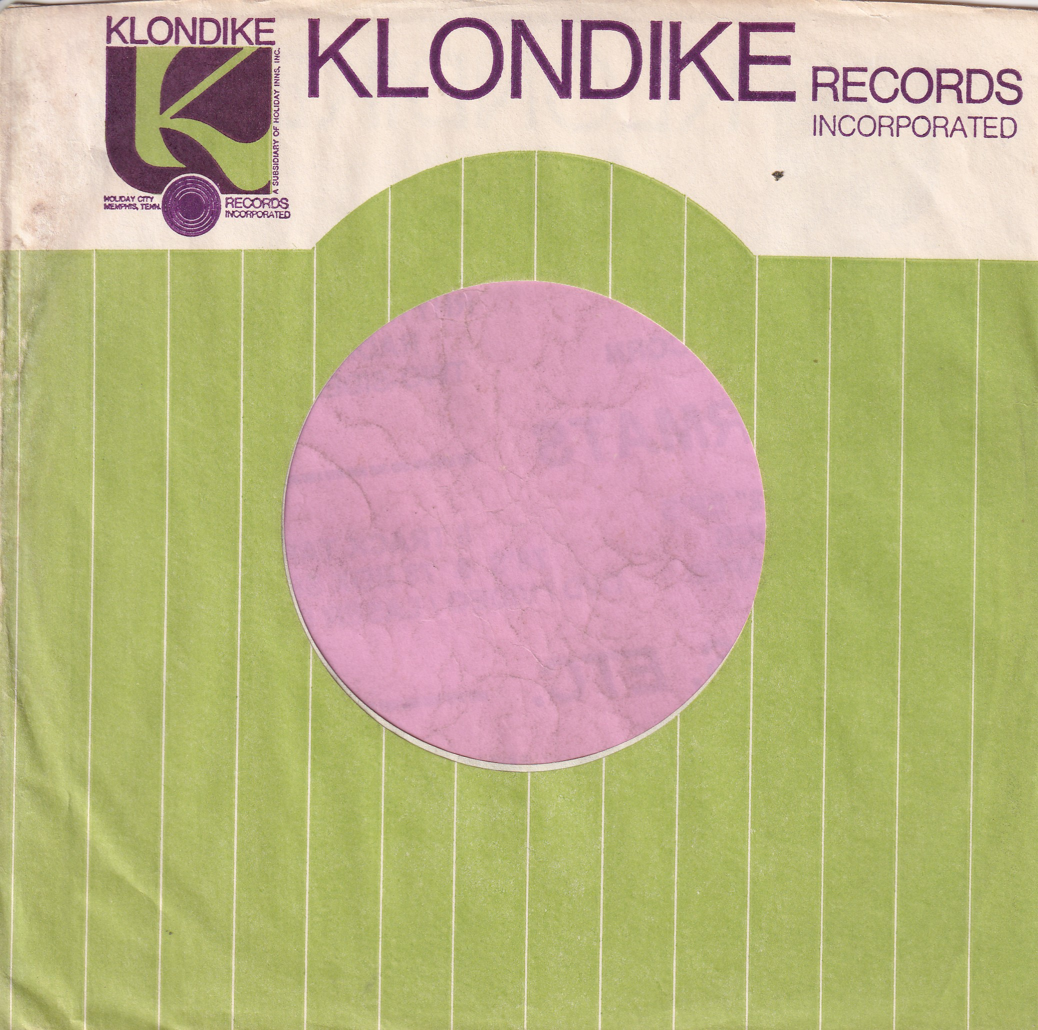 Klondike Records U.S.A. Dull Purple Print Company Sleeve 1960's