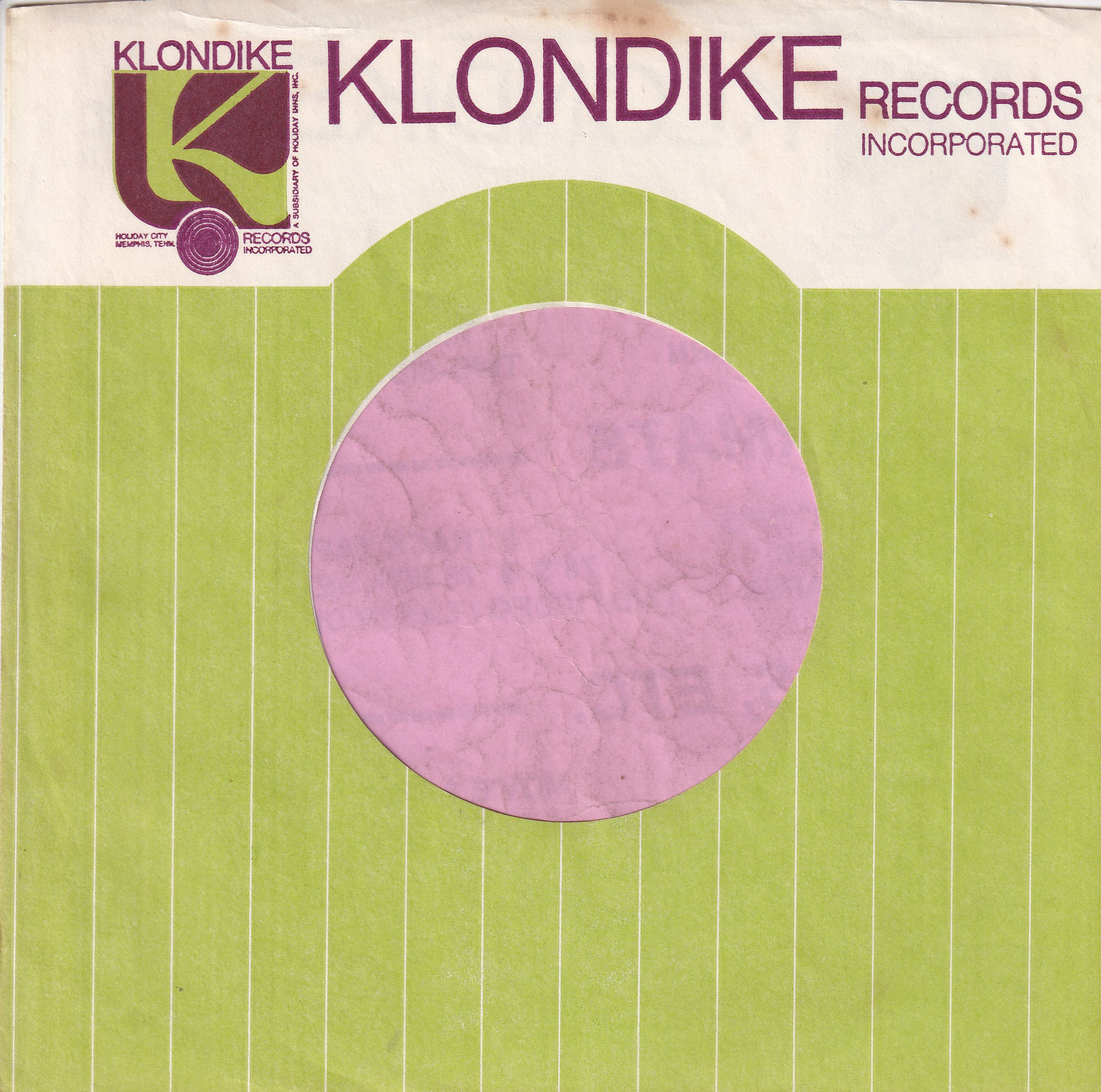 Klondike Records U.S.A. Purple Print Company Sleeve 1960's