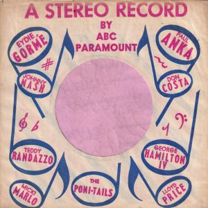 ABC Paramount Various Artists U.S.A. Used For Stereo Records Company Sleeve 1959 – 1960