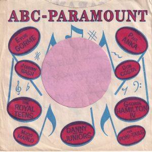 ABC Paramount Various Artists U.S.A. Company Sleeve 1958 – 1959