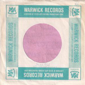 Warwick Records U.S.A. Company Sleeve 1961 – 1962
