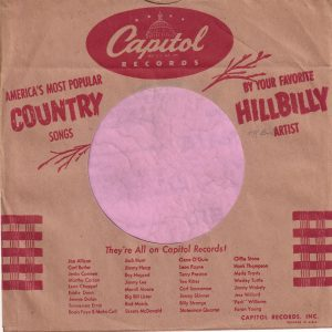 Capitol Records U.S.A. Country Hillbilly Company Sleeve 1953 -1954