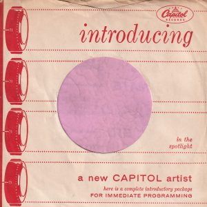 Capitol Records U.S.A. Introducing , Sleeve Used For D.J. Copies Company Sleeve Around 1957
