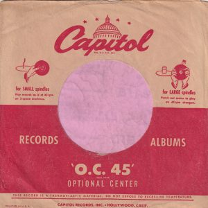 Capitol Records U.S.A. Logo The Same Size Both Sides , Red Line Doesn't Extend To The Sleeve Edge , Printed In USA Further Left Company Sleeve 1951 -1953