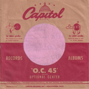 Capitol Records U.S.A. Logo Same Size Both Sides Printed In USA On Both Sides Red Line Extends To Sleeve Edge Company Sleeve 1951 -1953