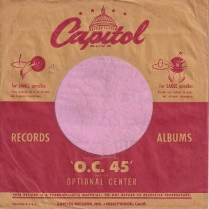 "Capitol Records U.S.A. Logo The Same Size Both Sides , Red Line Doesn't Extend To The Sleeve Edge , Printed In USA Under ""This"" Company Sleeve 1951 -1953"