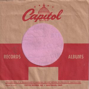 Capitol Records U.S.A. Logo Smaller On Back Company Sleeve 1953 -1954