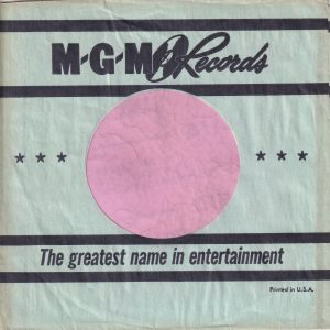 MGM Records U.S.A. Aqua Company Sleeve Ocasionally Used Early 1962