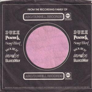 ABC Dunhill Records U.S.A. Duke , Peacock , Songbird , Back Beat , Impulse , Bluesway Company Sleeve 1974