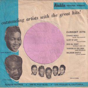 Aladdin Records U.S.A. Blue Print Company Sleeve 1958 – 1961