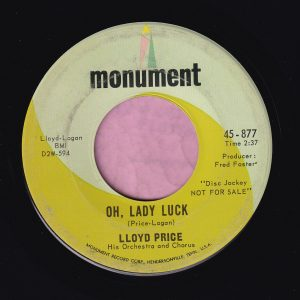 "lloyd Price "" Oh, Lady Luck "" Monument Demo Vg+"