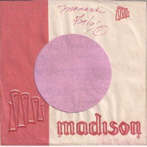 Madison U.S.A. Company Sleeve  Without A Notch 1959 – 1961