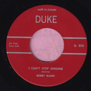 "Bobby Bland "" I Can't Stop Singing "" Duke Canadian M-"