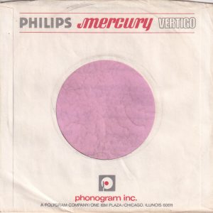 Philips Mercury Vertigo U.S.A. White Without Buildings Printed Company Sleeve 1972 – 1981