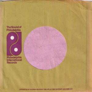 PIR Philadelphia International Records U.S.A. Olive Print Columbia Dist. Small Logo Address Details In Upper Case Only Company Sleeve 1971 – 1973