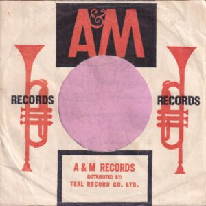 A&M Records South Africa Distr. By Teal Record Co. Company Sleeve