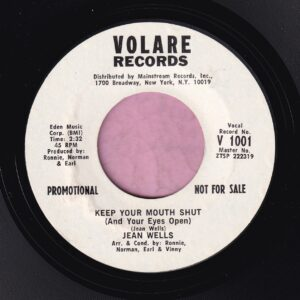 "Jean Wells "" Keep You Mouth Shut ( And Your Eyes Open ) "" Volaire Demo Vg+"