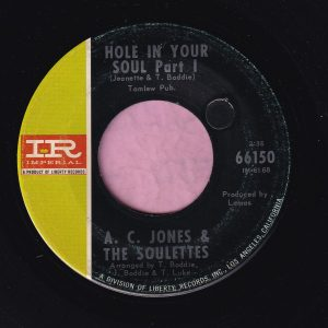 """A.C. Jones & The Soulettes """" Hole In Your Soul """" Imperial Vg+"""