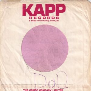 Kapp Records Canadian Red Print On White Paper Company Sleeve