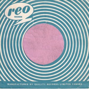 Reo Records Canadian Blue Print On White Paper Company Sleeve