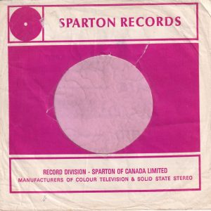 Sparton Records Canadian Company Sleeve Red Print On White Paper